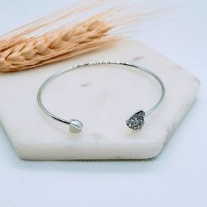 5 for $25 Silver Color Heart Cuff Bracelet